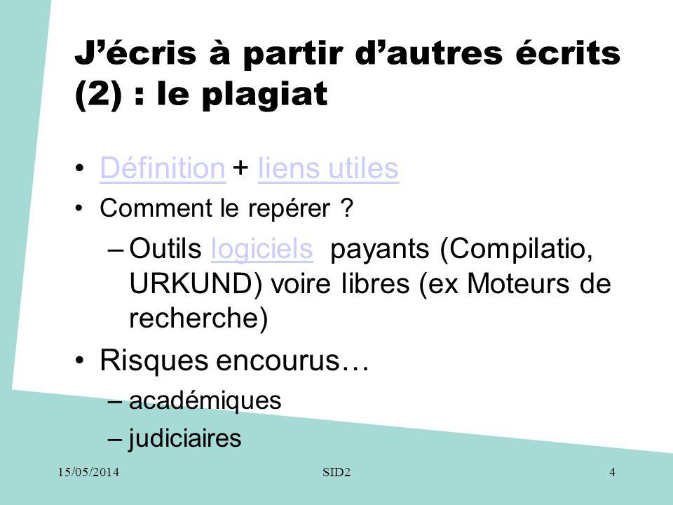 J'écris à partir d'autres écrits (3) plagiat : les logiciels UrkundUrkund, (riche en contenus) Compilatio (+ version univ.) EuphorusEuphorus / plagiarisma.net Pompotron (version étudiant) Noplagiat, CopyTracker, Article Checker…Plagium, le petit renifleur de plagiat, Turnitrin (riche en contenus); etc.