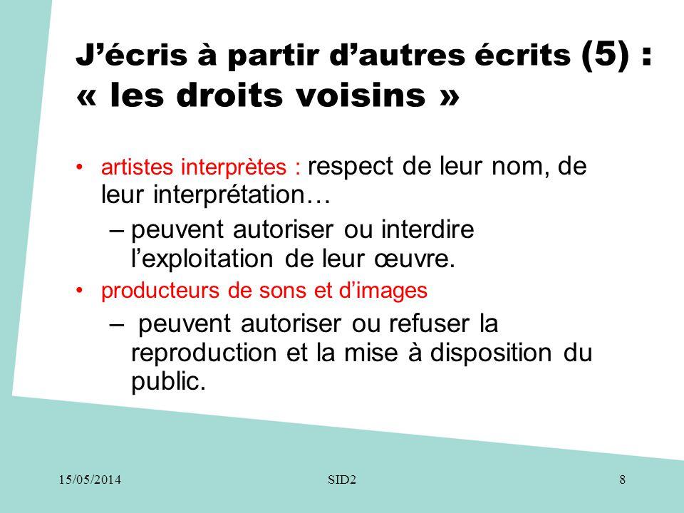 J'écris à partir d'autres écrits (5) : « les droits voisins » •artistes interprètes : respect de leur nom, de leur interprétation… –peuvent autoriser