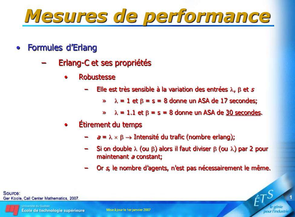 Mise à jour le 1er janvier 2007 2 Mesures de performance •Formules d'Erlang –Erlang-C et ses propriétés •Économie d'échelle –En doublant s, le nombre d'agents, on peut plus que doubler  tout en maintenant le même SL –C'est pour cette raison que l'on dit: »Un grand centre d'appels est plus efficace qu'un petit; »Cette affirmation est à considérer avec des lunettes de technocrate.
