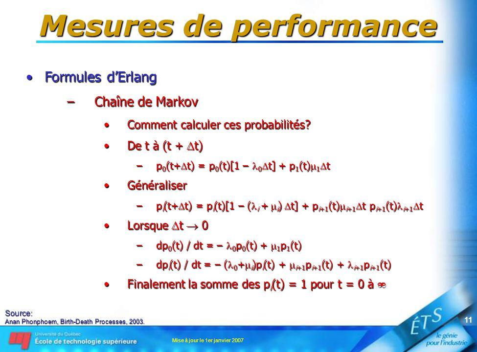 Mise à jour le 1er janvier 2007 11 Mesures de performance •Formules d'Erlang –Chaîne de Markov •Comment calculer ces probabilités? •De t à (t +  t) –