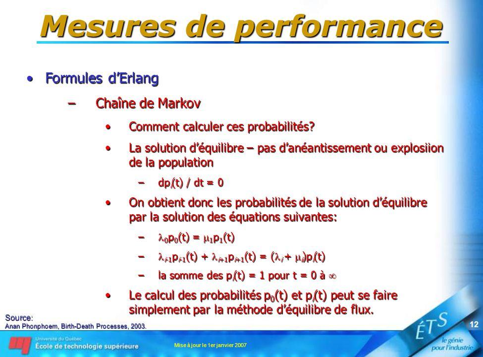 Mise à jour le 1er janvier 2007 12 Mesures de performance •Formules d'Erlang –Chaîne de Markov •Comment calculer ces probabilités? •La solution d'équi