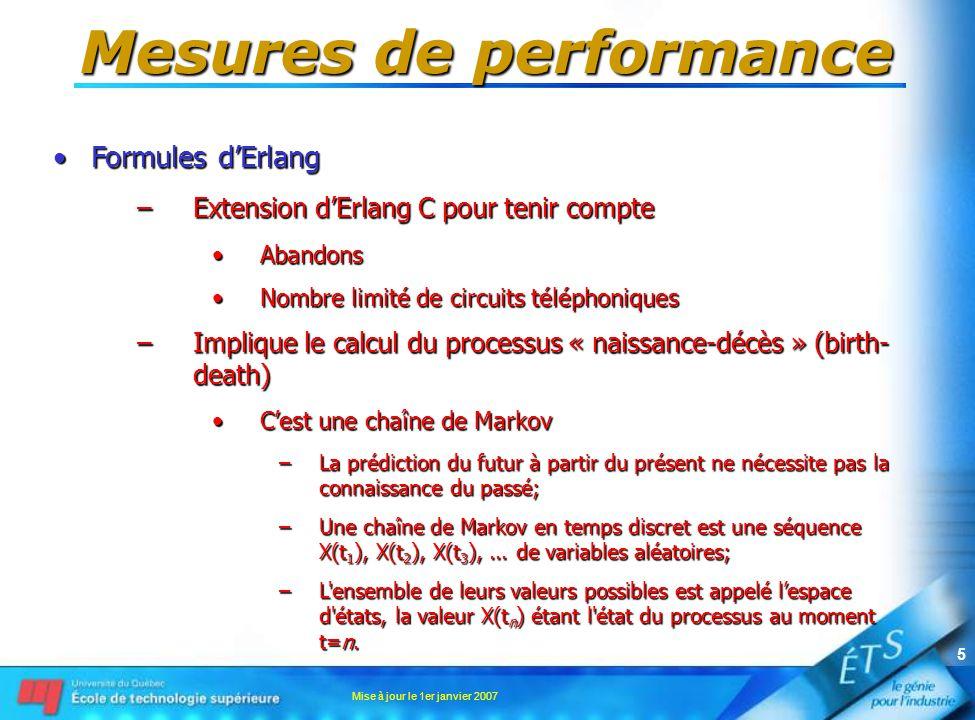 Mise à jour le 1er janvier 2007 6 Mesures de performance •Formules d'Erlang –Extension d'Erlang C pour tenir compte •Abandons et rappels •Nombre limité de circuits téléphoniques –Chaîne de Markov •Distribution conditionnelle – probabilité de transition d'un pas –P{X(t n+1 ) = j   X(t n ) = i n } où n = 1, 2, 3… et t 1 < t 2 < … < t n •Le processus peut demeurer dans un état X(t n ) = i n –Il peut changer d'état seulement à des temps discrets – chaîne de Markov discrète –Il peut changer d'état en un temps arbitaire – chaîne de Markov continue