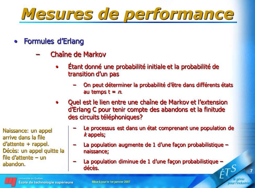 Mise à jour le 1er janvier 2007 8 Mesures de performance •Formules d'Erlang –Chaîne de Markov •Le processus continu est donc plus approprié pour modéliser les abandons –P{système dans l'état i au temps T   système présentement dans l'état i} –= (1 –  t) T/  t –= e  t lorsque  t  0 •  = taux de décès (abandon) dans un état •Donc, le temps passé dans un état est de distribution exponentielle – même distribution que Erlang-C.