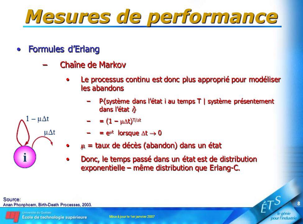 Mise à jour le 1er janvier 2007 8 Mesures de performance •Formules d'Erlang –Chaîne de Markov •Le processus continu est donc plus approprié pour modél