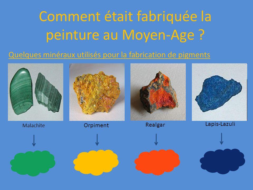 Comment était fabriquée la peinture au Moyen-Age ? Quelques minéraux utilisés pour la fabrication de pigments Malachite Orpiment Realgar Lapis-Lazuli