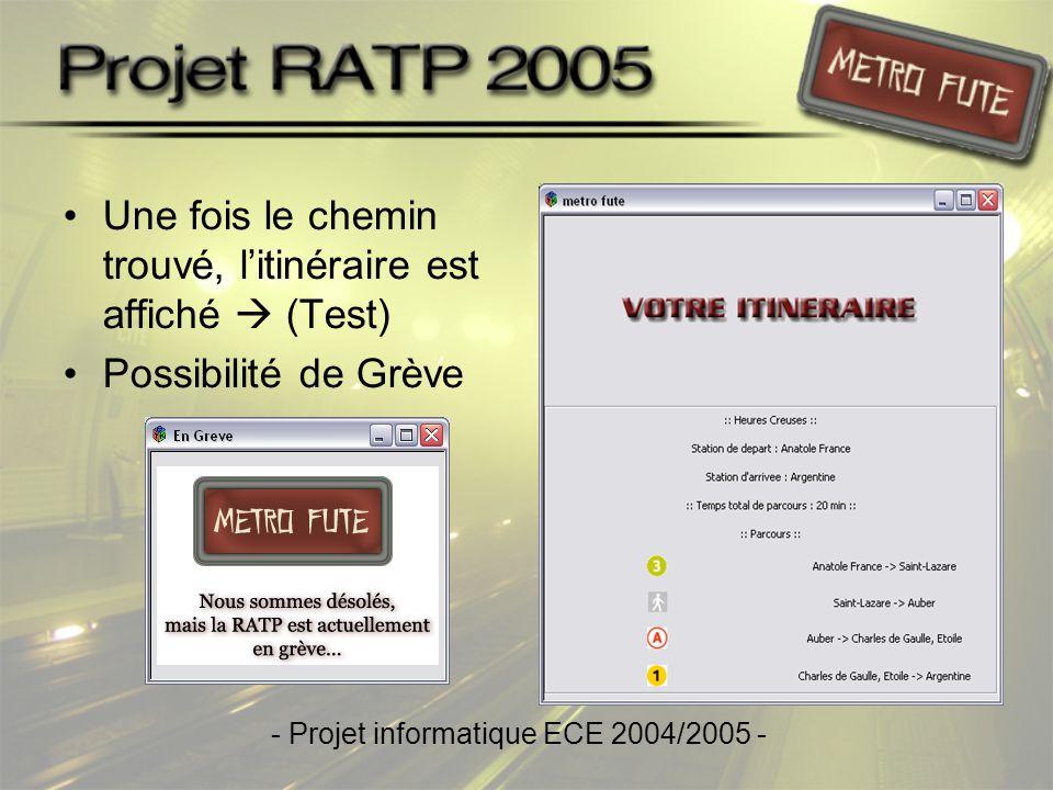 •Une fois le chemin trouvé, l'itinéraire est affiché  (Test) •Possibilité de Grève - Projet informatique ECE 2004/2005 -