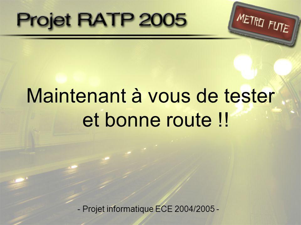 Maintenant à vous de tester et bonne route !! - Projet informatique ECE 2004/2005 -