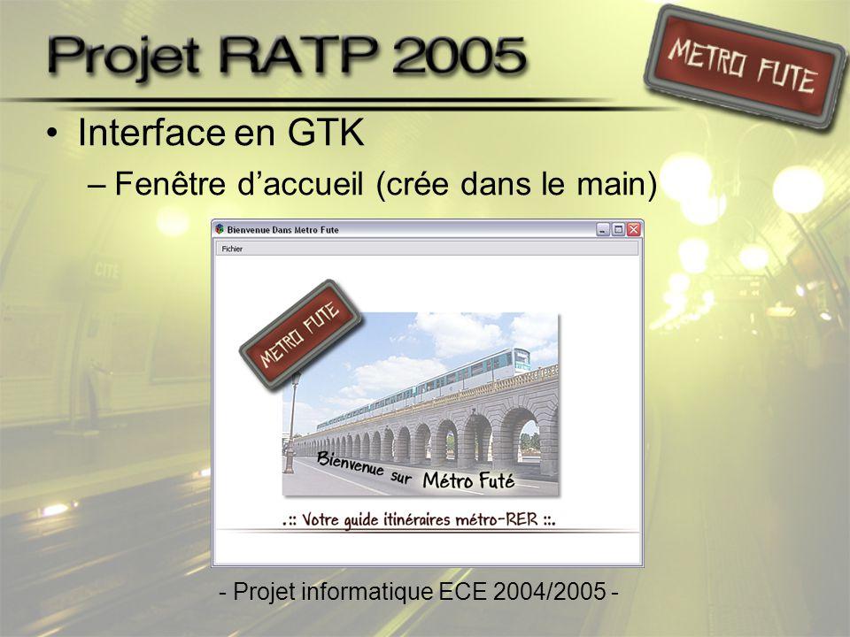 •Fenêtre principale (creafenetre) –Affichage d'une aide –Affichage du plan de métro et RER –Choix de l'utilisateur •Station de départ •Station d'arrivée •Heures Creuses/Pleines - Projet informatique ECE 2004/2005 -