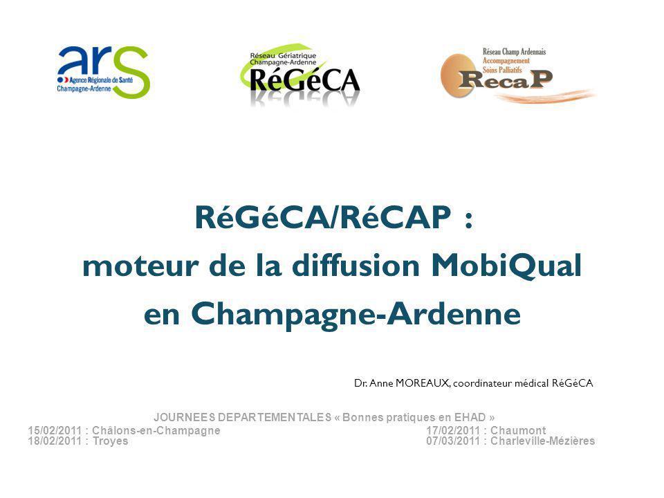 RéGéCA/RéCAP : moteur de la diffusion MobiQual en Champagne-Ardenne Dr. Anne MOREAUX, coordinateur médical RéGéCA JOURNEES DEPARTEMENTALES « Bonnes pr