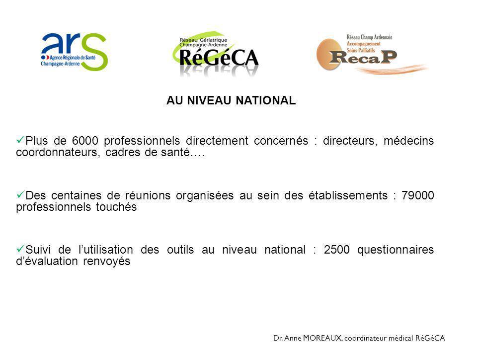 Dr. Anne MOREAUX, coordinateur médical RéGéCA  Plus de 6000 professionnels directement concernés : directeurs, médecins coordonnateurs, cadres de san