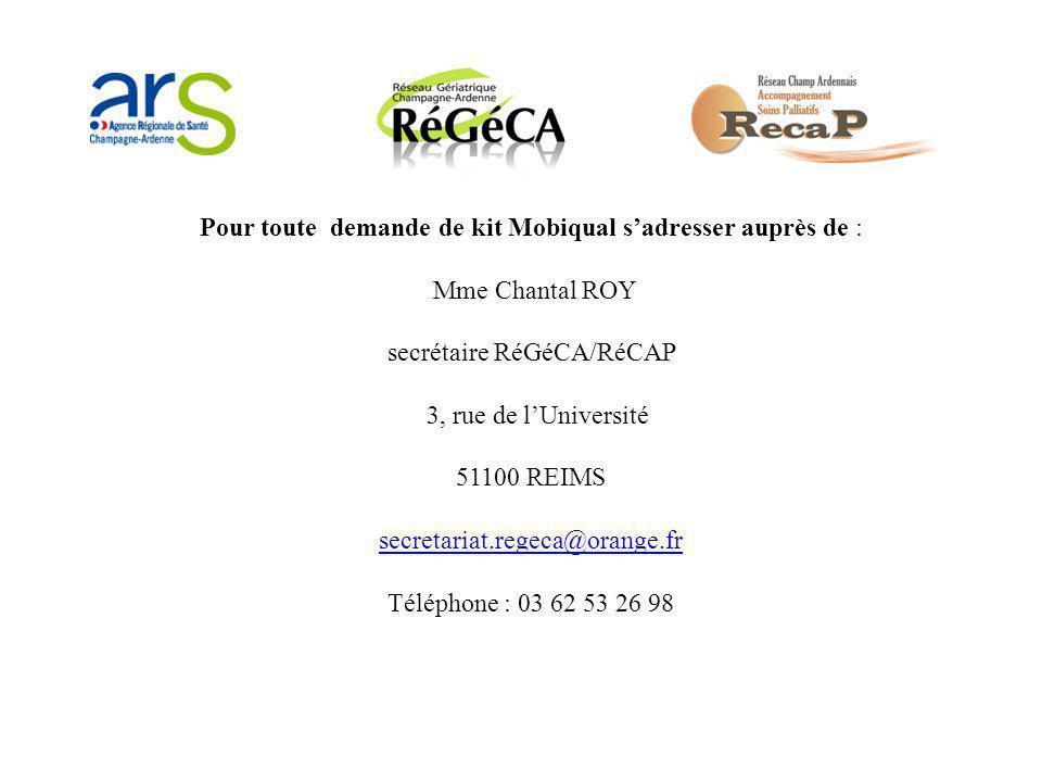 Pour toute demande de kit Mobiqual s'adresser auprès de : Mme Chantal ROY secrétaire RéGéCA/RéCAP 3, rue de l'Université 51100 REIMS secretariat.regec
