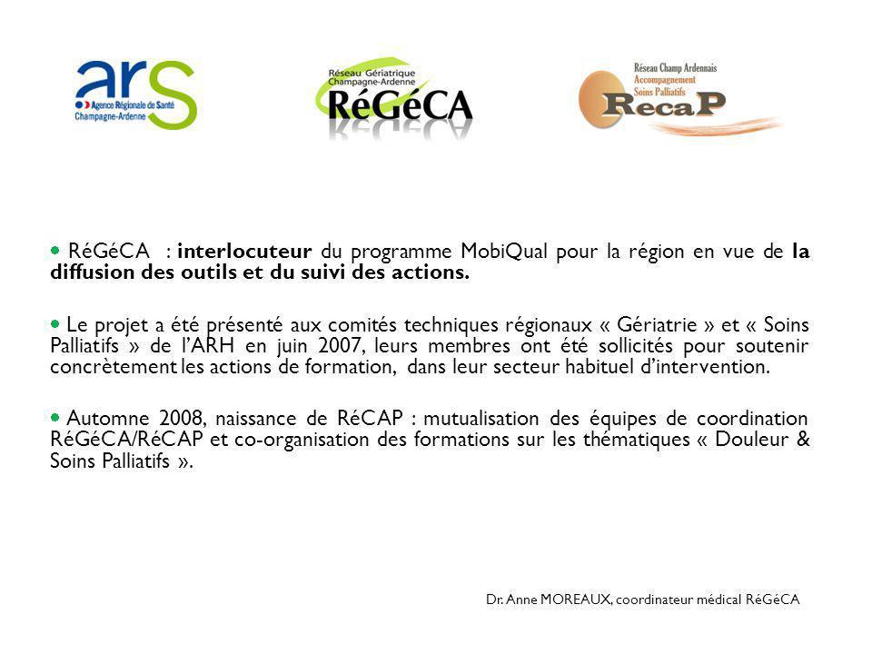  RéGéCA : interlocuteur du programme MobiQual pour la région en vue de la diffusion des outils et du suivi des actions.  Le projet a été présenté au