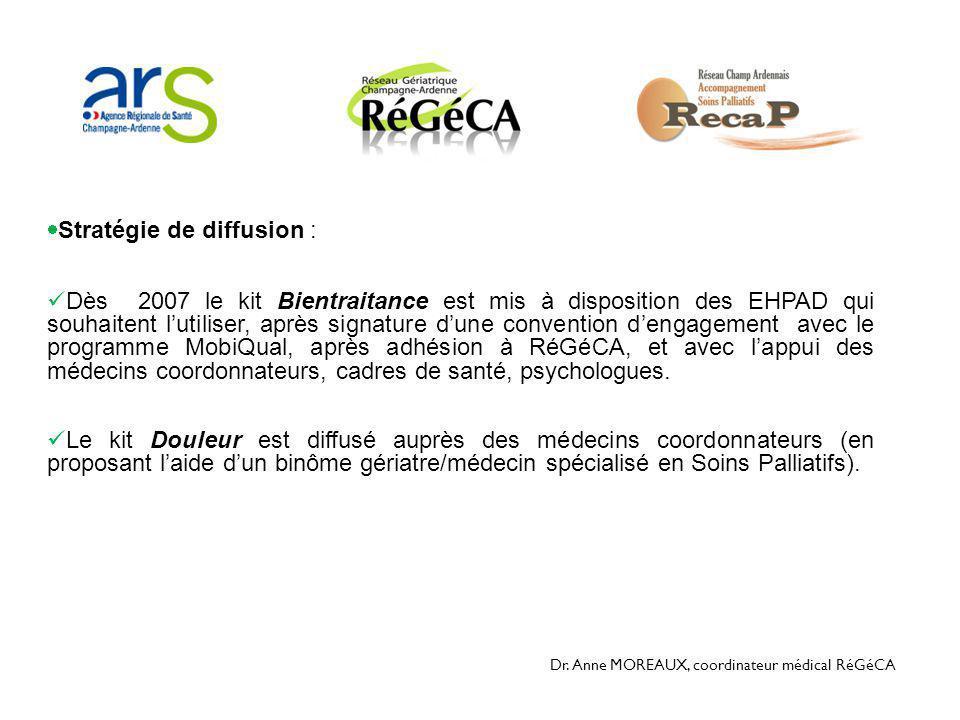 Dr. Anne MOREAUX, coordinateur médical RéGéCA  Stratégie de diffusion :  Dès 2007 le kit Bientraitance est mis à disposition des EHPAD qui souhaiten