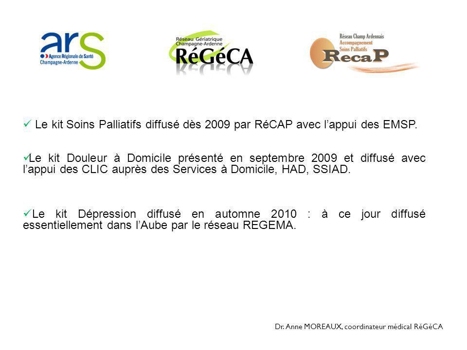 Dr. Anne MOREAUX, coordinateur médical RéGéCA  Le kit Soins Palliatifs diffusé dès 2009 par RéCAP avec l'appui des EMSP.  Le kit Douleur à Domicile