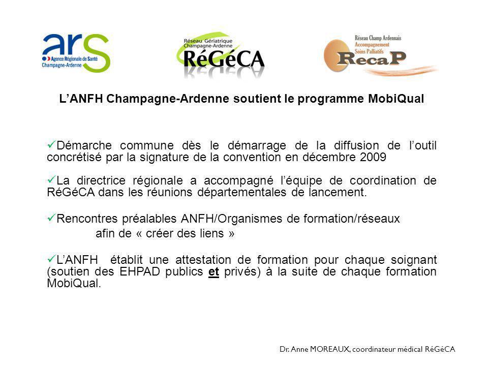 Dr. Anne MOREAUX, coordinateur médical RéGéCA L'ANFH Champagne-Ardenne soutient le programme MobiQual  Démarche commune dès le démarrage de la diffus