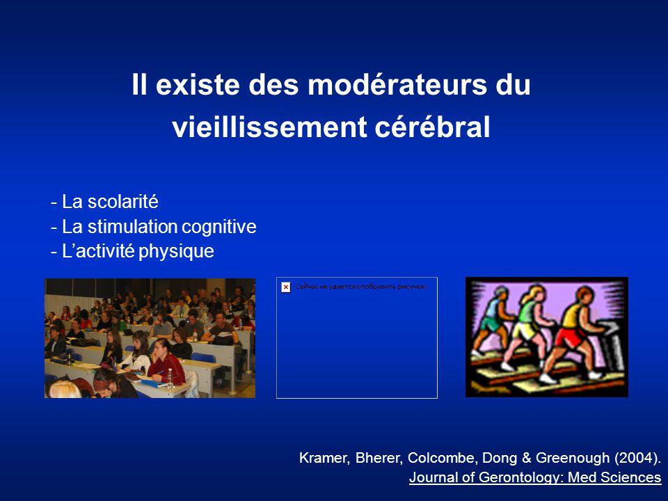Il existe des modérateurs du vieillissement cérébral - La scolarité - La stimulation cognitive - L'activité physique Kramer, Bherer, Colcombe, Dong &
