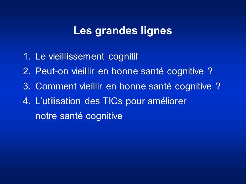 Les grandes lignes 1.Le vieillissement cognitif 2.Peut-on vieillir en bonne santé cognitive ? 3.Comment vieillir en bonne santé cognitive ? 4.L'utilis