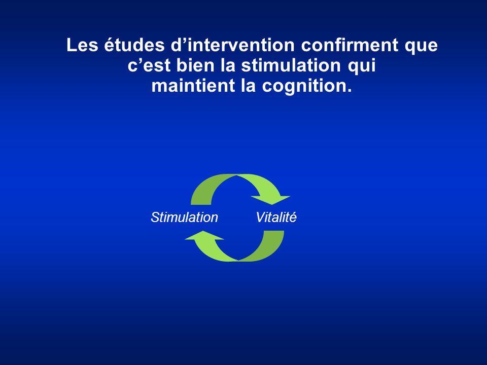 Les études d'intervention confirment que c'est bien la stimulation qui maintient la cognition. Stimulation Vitalité