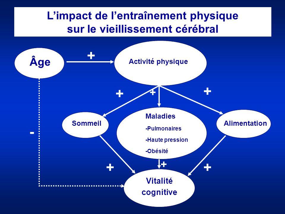 L'impact de l'entraînement physique sur le vieillissement cérébral Âge Maladies -Pulmonaires -Haute pression -Obésité Vitalité cognitive Sommeil Activ