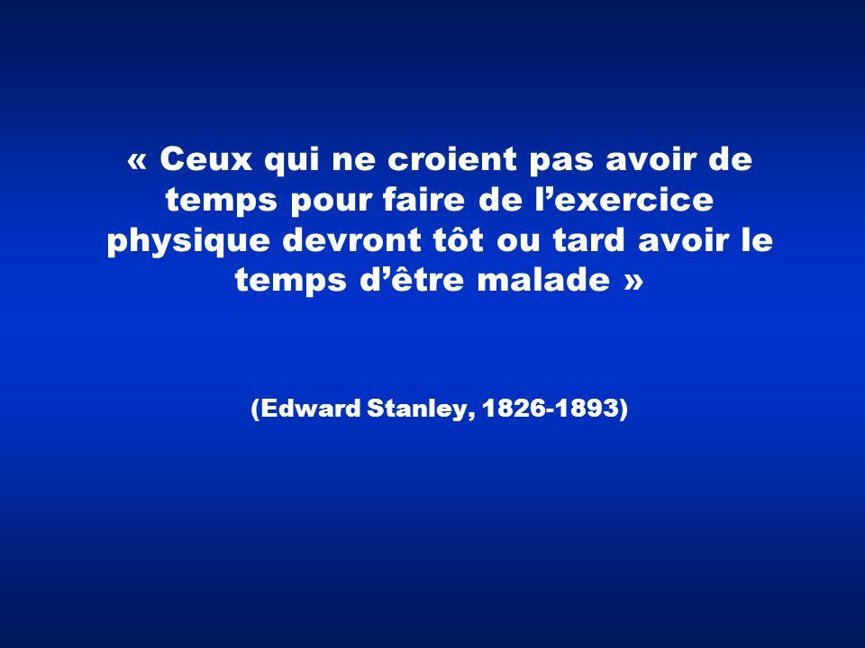 « Ceux qui ne croient pas avoir de temps pour faire de l'exercice physique devront tôt ou tard avoir le temps d'être malade » (Edward Stanley, 1826-18