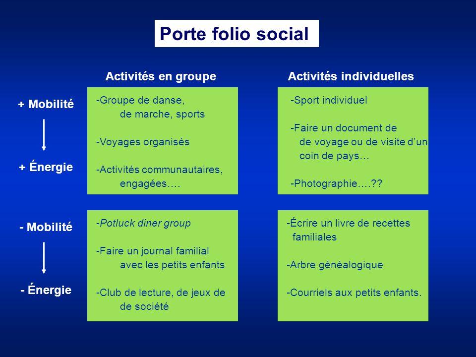 Activités en groupe -Groupe de danse, de marche, sports -Voyages organisés -Activités communautaires, engagées…. Porte folio social + Mobilité + Énerg