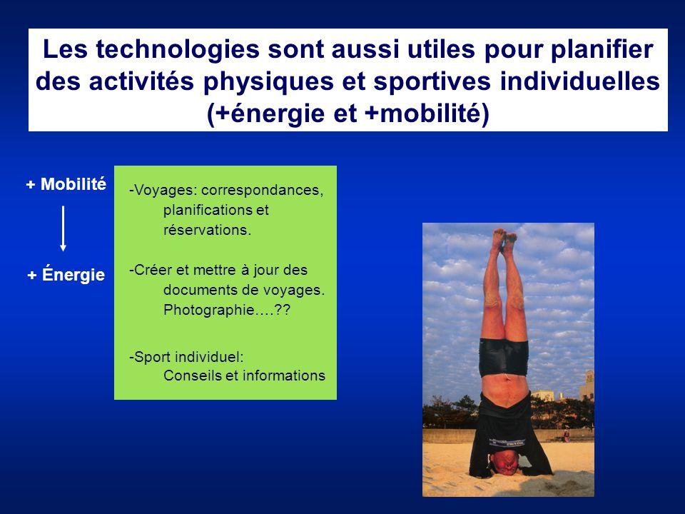 Les technologies sont aussi utiles pour planifier des activités physiques et sportives individuelles (+énergie et +mobilité) + Mobilité + Énergie -Voy