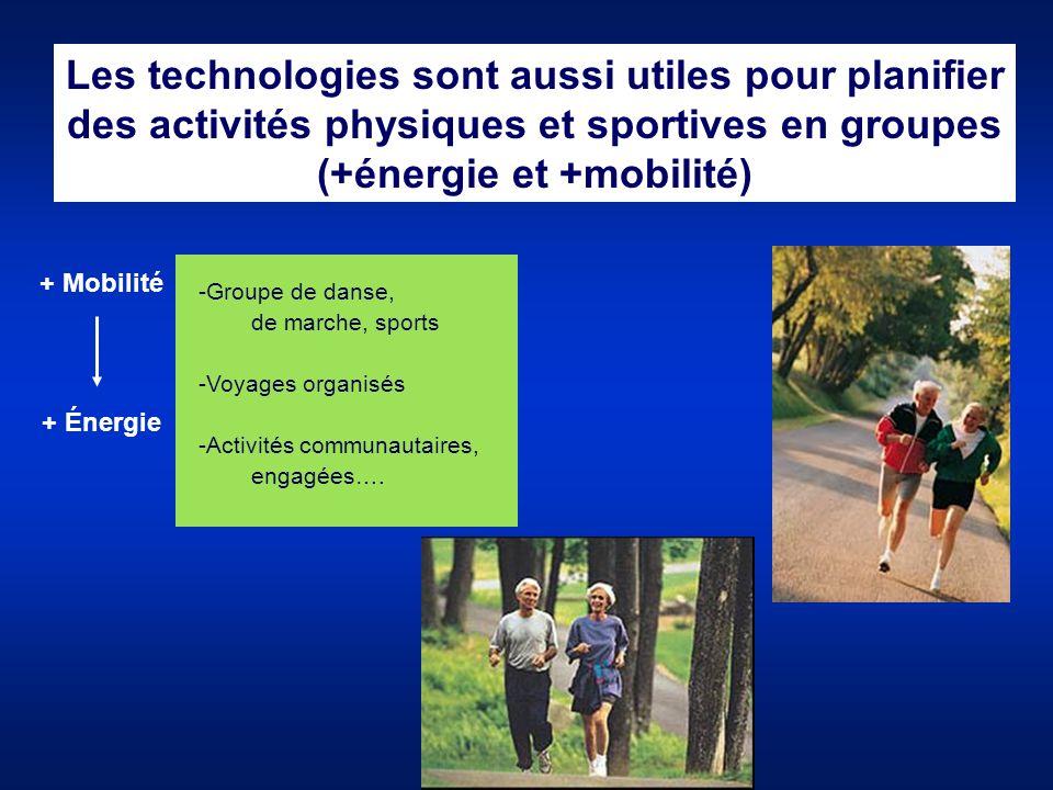 Les technologies sont aussi utiles pour planifier des activités physiques et sportives en groupes (+énergie et +mobilité) + Mobilité + Énergie -Groupe