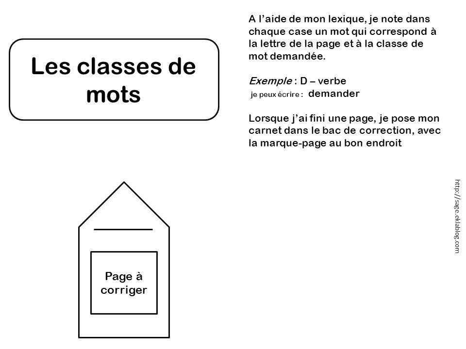 Les classes de mots A l'aide de mon lexique, je note dans chaque case un mot qui correspond à la lettre de la page et à la classe de mot demandée. Exe