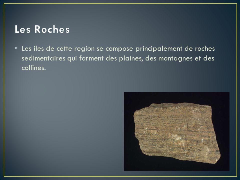 • Les iles de cette region se compose principalement de roches sedimentaires qui forment des plaines, des montagnes et des collines.