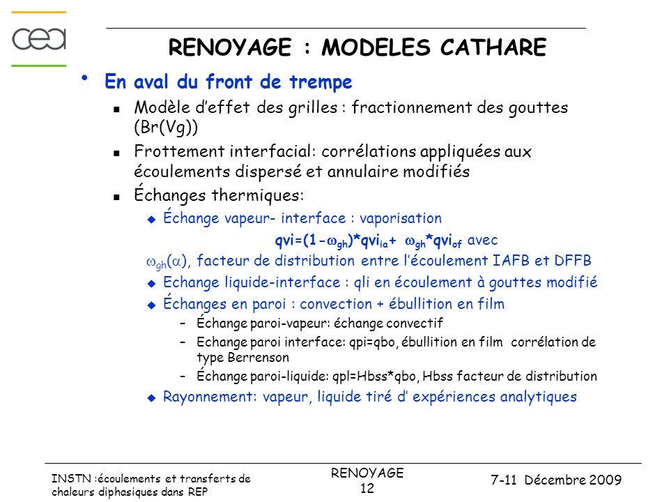 7-11 Décembre 2009 RENOYAGE 12 INSTN :écoulements et transferts de chaleurs diphasiques dans REP RENOYAGE : MODELES CATHARE • En aval du front de trempe  Modèle d'effet des grilles : fractionnement des gouttes (Br(Vg))  Frottement interfacial: corrélations appliquées aux écoulements dispersé et annulaire modifiés  Échanges thermiques:  Échange vapeur- interface : vaporisation qvi=(1-  gh )*qvi ia +  gh *qvi of avec  gh (  ), facteur de distribution entre l'écoulement IAFB et DFFB  Echange liquide-interface : qli en écoulement à gouttes modifié  Échanges en paroi : convection + ébullition en film –Échange paroi-vapeur: échange convectif –Echange paroi interface: qpi=qbo, ébullition en film corrélation de type Berrenson –Échange paroi-liquide: qpl=Hbss*qbo, Hbss facteur de distribution  Rayonnement: vapeur, liquide tiré d' expériences analytiques