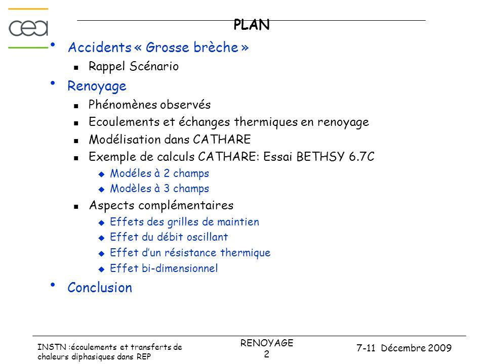 7-11 Décembre 2009 RENOYAGE 2 INSTN :écoulements et transferts de chaleurs diphasiques dans REP PLAN • Accidents « Grosse brèche »  Rappel Scénario •