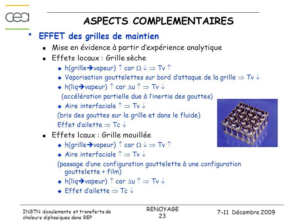 7-11 Décembre 2009 RENOYAGE 23 INSTN :écoulements et transferts de chaleurs diphasiques dans REP ASPECTS COMPLEMENTAIRES • EFFET des grilles de mainti
