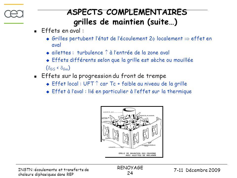 7-11 Décembre 2009 RENOYAGE 24 INSTN :écoulements et transferts de chaleurs diphasiques dans REP ASPECTS COMPLEMENTAIRES grilles de maintien (suite…)