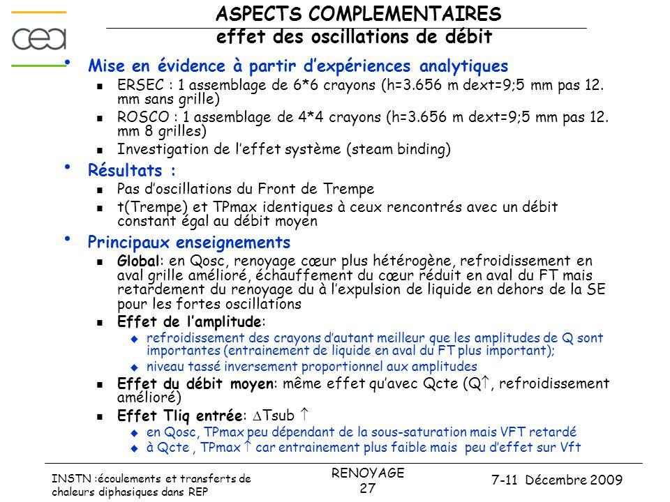 7-11 Décembre 2009 RENOYAGE 27 INSTN :écoulements et transferts de chaleurs diphasiques dans REP ASPECTS COMPLEMENTAIRES effet des oscillations de déb
