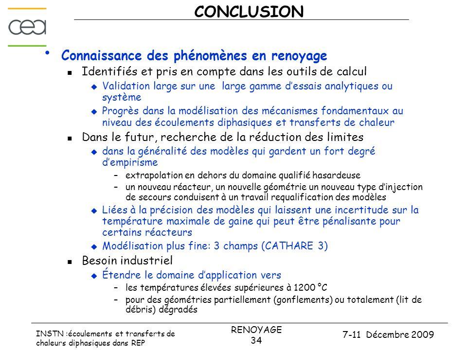 7-11 Décembre 2009 RENOYAGE 34 INSTN :écoulements et transferts de chaleurs diphasiques dans REP CONCLUSION • Connaissance des phénomènes en renoyage