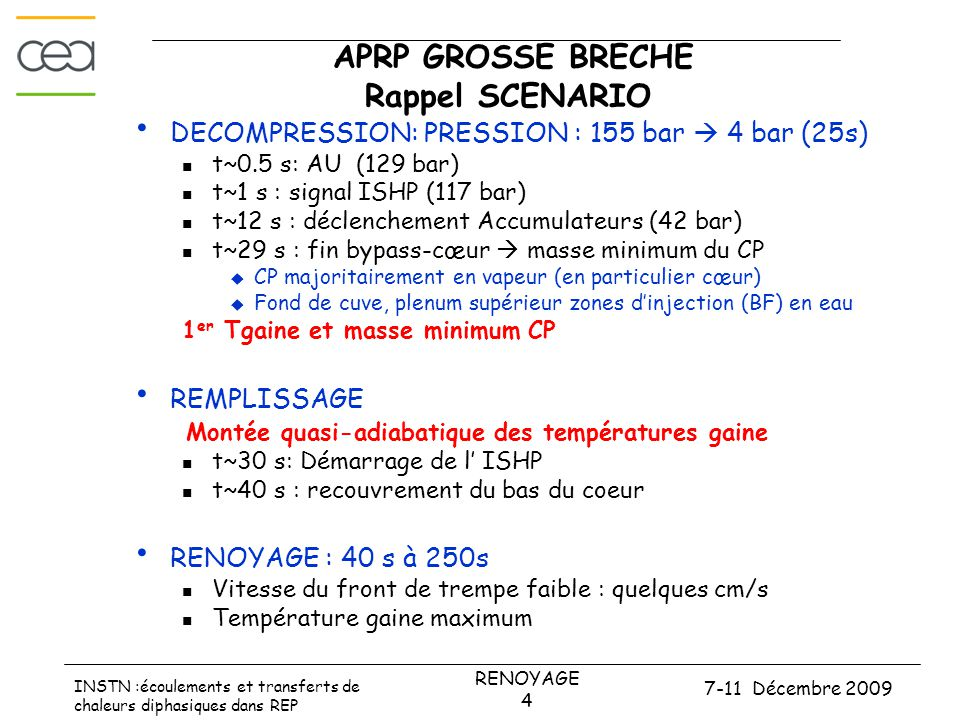 7-11 Décembre 2009 RENOYAGE 4 INSTN :écoulements et transferts de chaleurs diphasiques dans REP APRP GROSSE BRECHE Rappel SCENARIO • DECOMPRESSION: PRESSION : 155 bar  4 bar (25s)  t~0.5 s: AU (129 bar)  t~1 s : signal ISHP (117 bar)  t~12 s : déclenchement Accumulateurs (42 bar)  t~29 s : fin bypass-cœur  masse minimum du CP  CP majoritairement en vapeur (en particulier cœur)  Fond de cuve, plenum supérieur zones d'injection (BF) en eau 1 er Tgaine et masse minimum CP • REMPLISSAGE Montée quasi-adiabatique des températures gaine  t~30 s: Démarrage de l' ISHP  t~40 s : recouvrement du bas du coeur • RENOYAGE : 40 s à 250s  Vitesse du front de trempe faible : quelques cm/s  Température gaine maximum