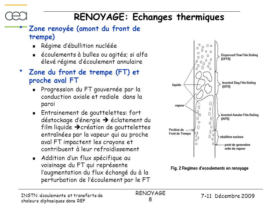 7-11 Décembre 2009 RENOYAGE 8 INSTN :écoulements et transferts de chaleurs diphasiques dans REP RENOYAGE: Echanges thermiques • Zone renoyée (amont du front de trempe)  Régime d'ébullition nucléée  écoulements à bulles ou agités; si alfa élevé régime d'écoulement annulaire • Zone du front de trempe (FT) et proche aval FT  Progression du FT gouvernée par la conduction axiale et radiale dans la paroi  Entrainement de gouttelettes: fort déstockage d'énergie  éclatement du film liquide  création de gouttelettes entraînées par la vapeur qui au proche aval FT impactent les crayons et contribuent à leur refroidissement  Addition d'un flux spécifique au voisinage du FT qui représente l'augmentation du flux échangé du à la perturbation de l'écoulement par le FT