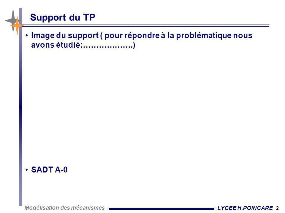 2 Modélisation des mécanismes LYCEE H.POINCARE Support du TP •Image du support ( pour répondre à la problématique nous avons étudié:……………….) •SADT A-0