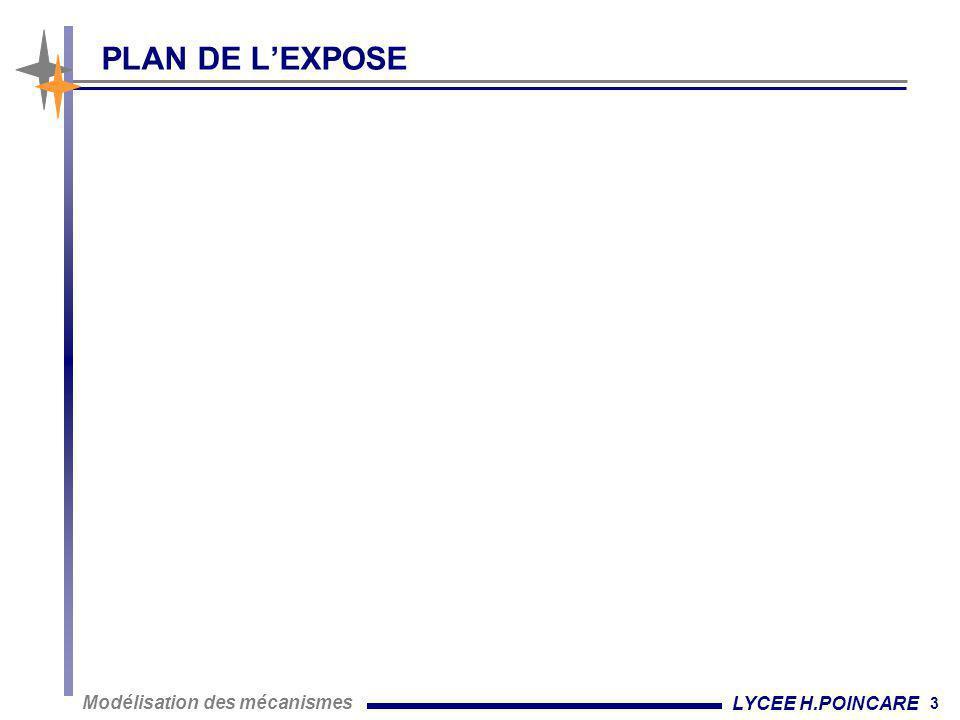 3 Modélisation des mécanismes LYCEE H.POINCARE PLAN DE L'EXPOSE