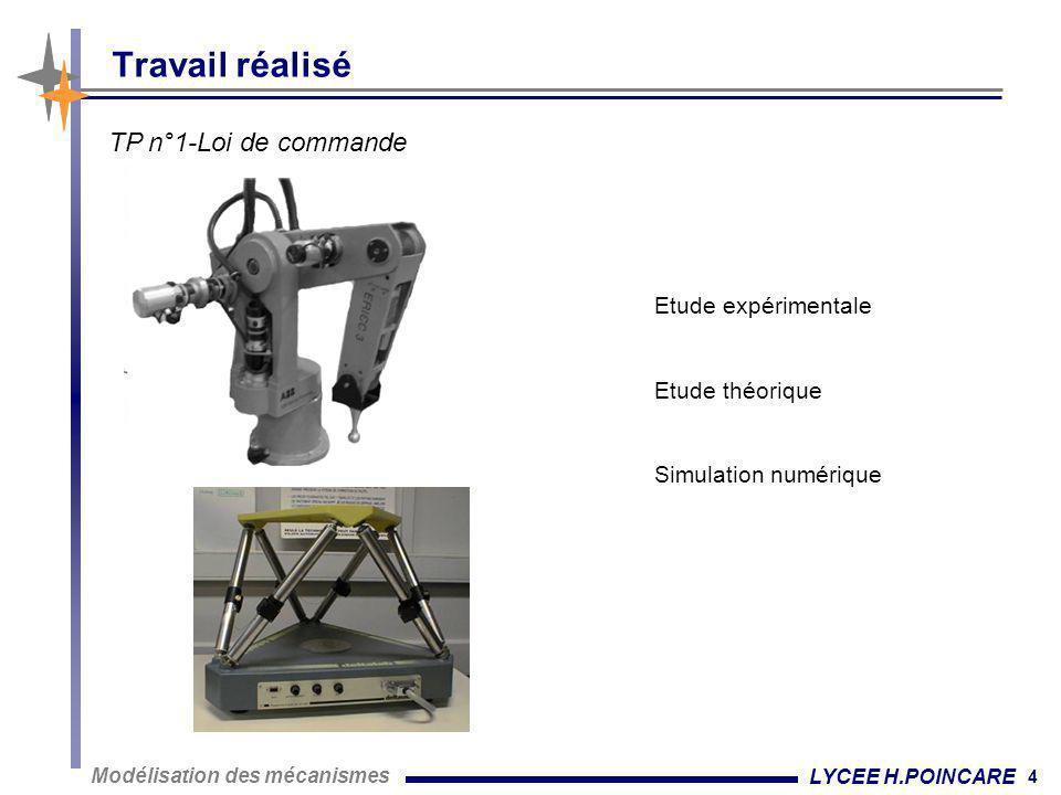 4 Modélisation des mécanismes LYCEE H.POINCARE Travail réalisé Etude expérimentale Etude théorique Simulation numérique TP n°1-Loi de commande
