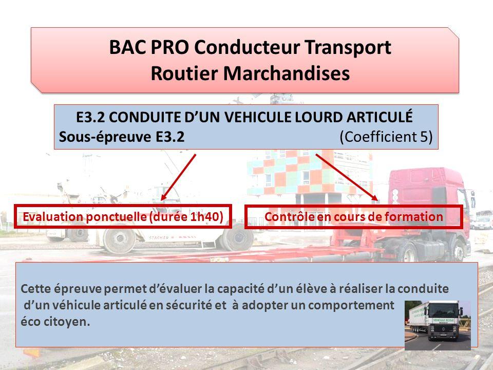 BAC PRO Conducteur Transport Routier Marchandises E3.2 CONDUITE D'UN VEHICULE LOURD ARTICULÉ Sous-épreuve E3.2 (Coefficient 5) Evaluation ponctuelle (