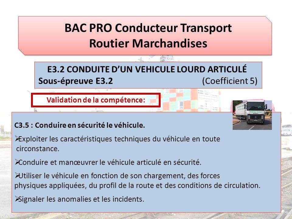 BAC PRO Conducteur Transport Routier Marchandises Validation de la compétence: C3.5 : Conduire en sécurité le véhicule.  Exploiter les caractéristiqu