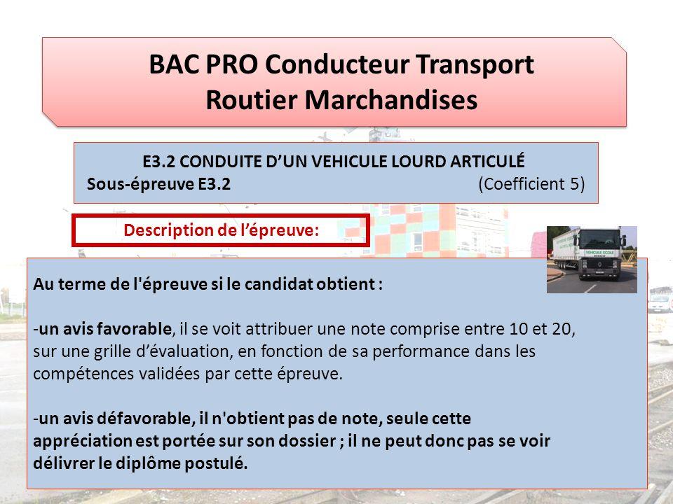 BAC PRO Conducteur Transport Routier Marchandises E3.2 CONDUITE D'UN VEHICULE LOURD ARTICULÉ Sous-épreuve E3.2 (Coefficient 5) Description de l'épreuv