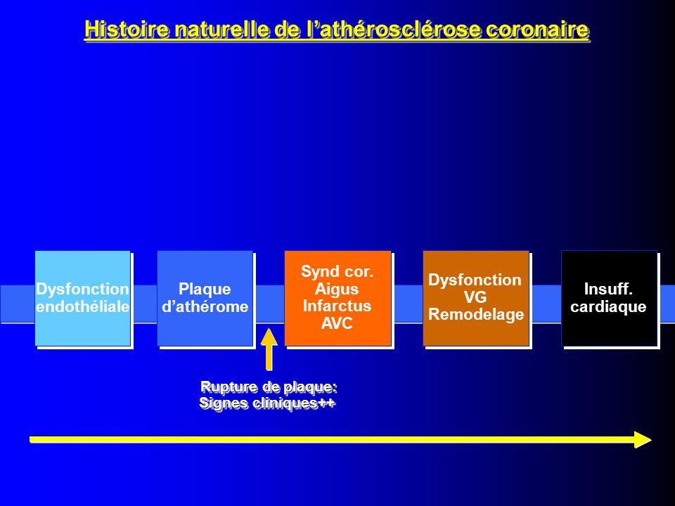 Dysfonction endothéliale Dysfonction endothéliale Plaque d'athérome Plaque d'athérome Synd cor.