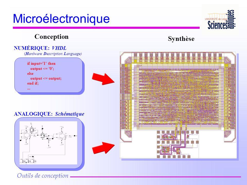 Microélectronique Outils de conception if input='1' then output <= '0'; else output <= output; end if;... NUMÉRIQUE: VHDL (Hardware Description Langua