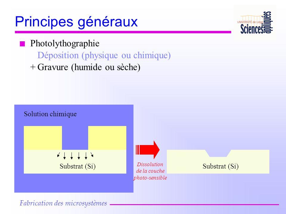 n Photolythographie Déposition (physique ou chimique) Substrat (Si) Solution chimique Substrat (Si) +Gravure (humide ou sèche) Dissolution de la couche photo-sensible Fabrication des microsystèmes Principes généraux