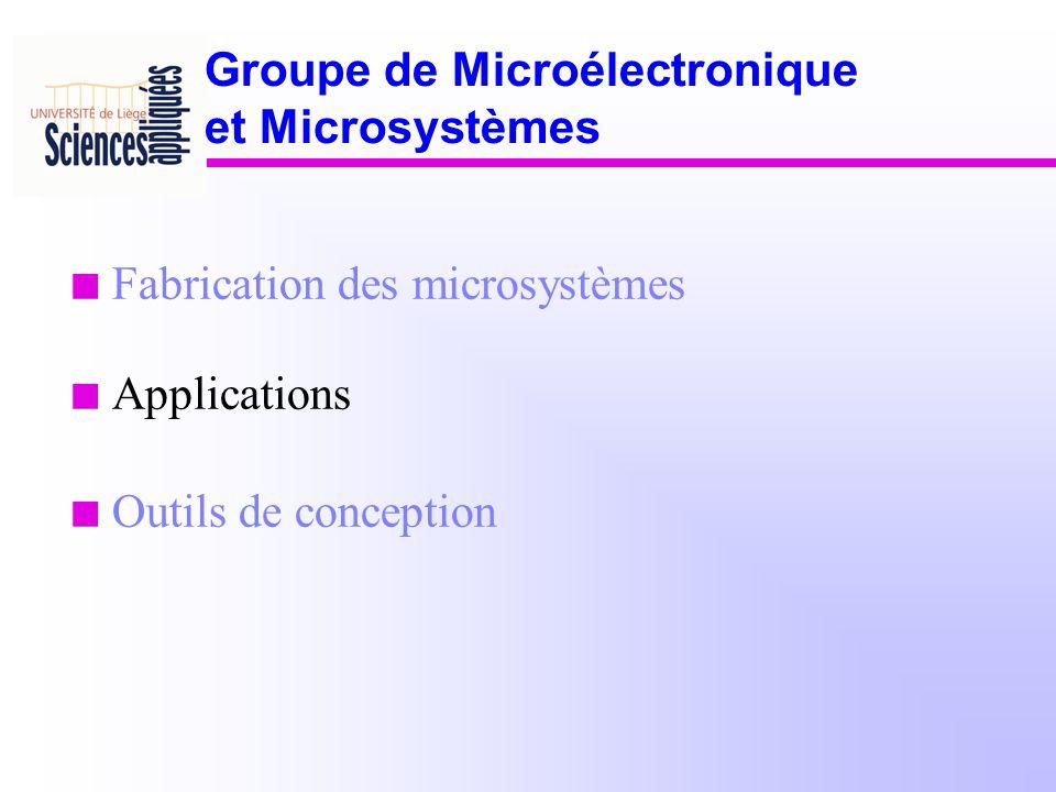 n Fabrication des microsystèmes n Applications n Outils de conception Groupe de Microélectronique et Microsystèmes