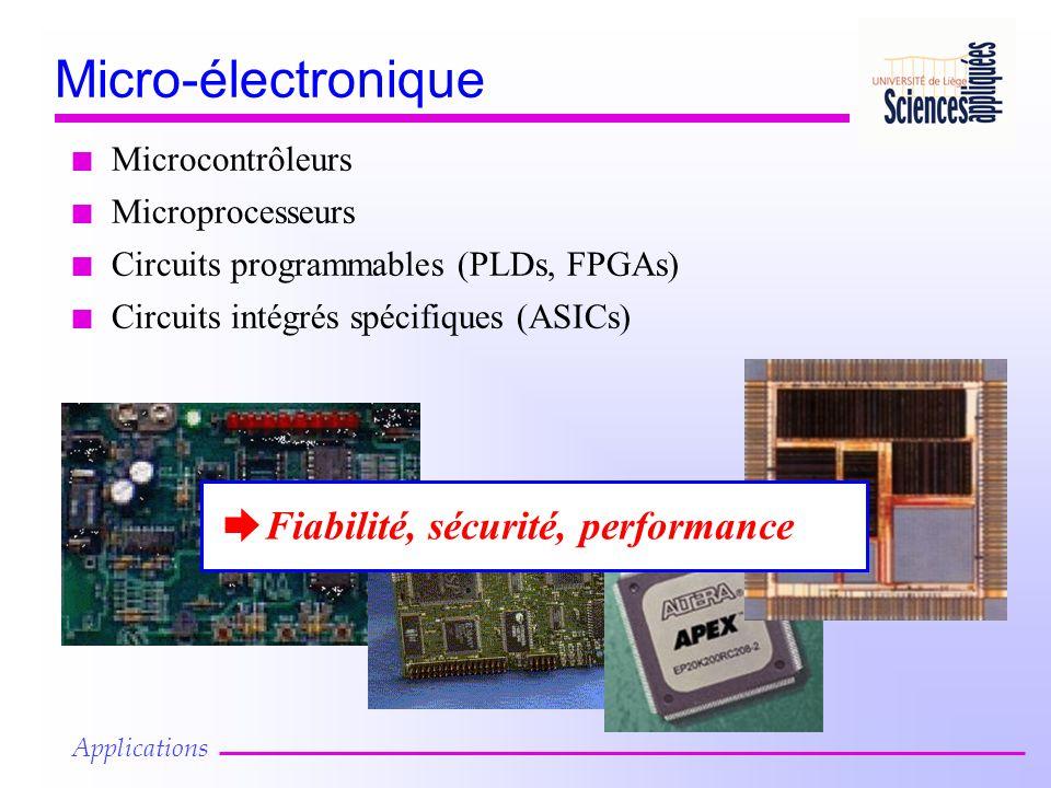 n Circuits intégrés spécifiques (ASICs) Micro-électronique n Microcontrôleurs n Microprocesseurs n Circuits programmables (PLDs, FPGAs) è Fiabilité, sécurité, performance Applications