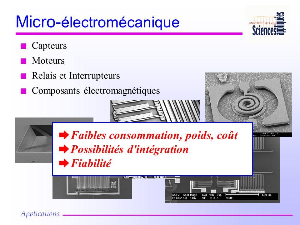 Micro- électromécanique n Capteurs n Moteurs n Relais et Interrupteurs n Composants électromagnétiques è Faibles consommation, poids, coût è Possibilités d intégration è Fiabilité Applications