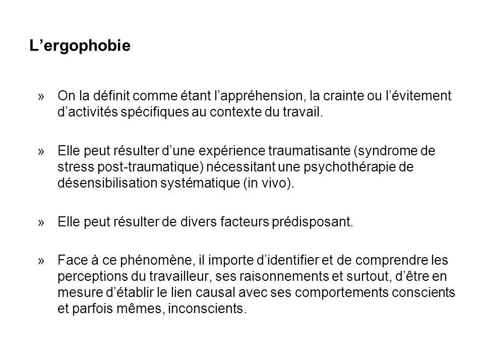L'ergophobie »On la définit comme étant l'appréhension, la crainte ou l'évitement d'activités spécifiques au contexte du travail. »Elle peut résulter